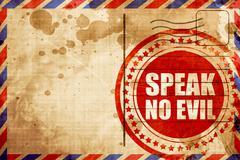 speak no evil, red grunge stamp on an airmail background - stock illustration