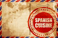 spanish cuisine, red grunge stamp on an airmail background - stock illustration