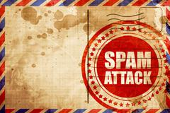 Spam attack, red grunge stamp on an airmail background Stock Illustration