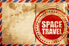 Space travel, red grunge stamp on an airmail background Stock Illustration