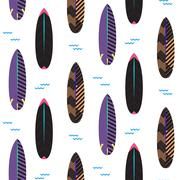 Surfboard seamless vector pattern. Black and purple striped boards on white - stock illustration
