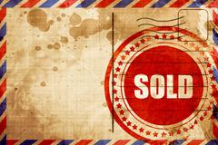 sold sign background, red grunge stamp on an airmail background - stock illustration