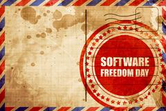 software freedom day, red grunge stamp on an airmail background - stock illustration
