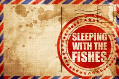 Sleeping with the fishes, red grunge stamp on an airmail backgro Stock Illustration