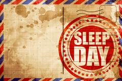 sleep day, red grunge stamp on an airmail background - stock illustration