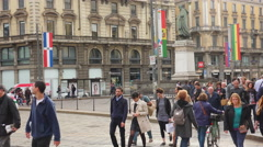 People crossing the street at the crosswalk in Milan,ULTRA HD 4K,real time Stock Footage