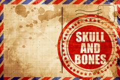 skull and bones, red grunge stamp on an airmail background - stock illustration