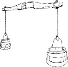 Outline sketch of 18th Century Yoke with Buckets Stock Illustration