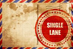 Single lane sign, red grunge stamp on an airmail background Stock Illustration