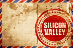silicon valley, red grunge stamp on an airmail background - stock illustration