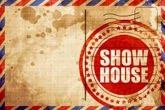 show house, red grunge stamp on an airmail background - stock illustration