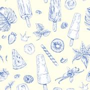 summer natural eco food seamless pattern - stock illustration