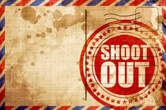 shoot out, red grunge stamp on an airmail background - stock illustration