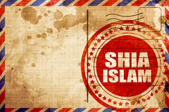 shia islam, red grunge stamp on an airmail background - stock illustration