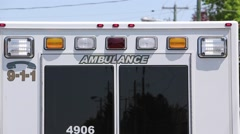 Ambulance lights back of van and doors Stock Footage