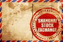 Shanghai stock exchange, red grunge stamp on an airmail backgrou Stock Illustration
