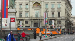 Milan's famous vintages trams in the daily life of the city ,UHD 4K, real time Stock Footage