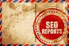 seo reports, red grunge stamp on an airmail background - stock illustration
