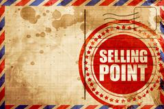 selling point, red grunge stamp on an airmail background - stock illustration