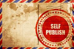 Self publishing, red grunge stamp on an airmail background Stock Illustration