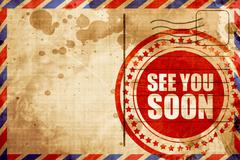 see you soon, red grunge stamp on an airmail background - stock illustration