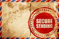 secure sending, red grunge stamp on an airmail background - stock illustration