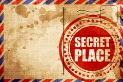 Secret place, red grunge stamp on an airmail background Stock Illustration