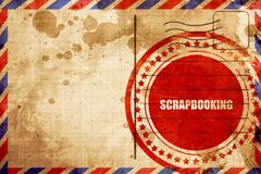 Scrapbooking, red grunge stamp on an airmail background - stock illustration