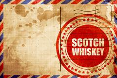 Scotch whiskey, red grunge stamp on an airmail background Stock Illustration