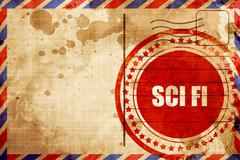sci fi, red grunge stamp on an airmail background - stock illustration