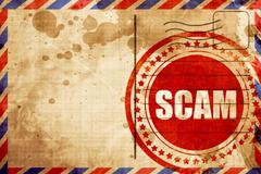 scam, red grunge stamp on an airmail background - stock illustration