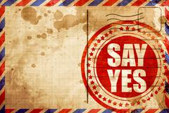 Say yes, red grunge stamp on an airmail background Stock Illustration