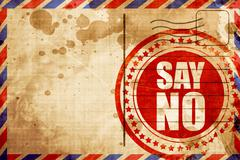 Say no, red grunge stamp on an airmail background Stock Illustration