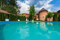 Luxury swimming pool near the hotel - stock photo