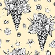 Seamless pattern with a fruity cocktail in waffle cone - stock illustration