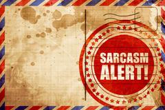 Sarcasm alert, red grunge stamp on an airmail background Stock Illustration