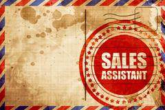 Sales assistant, red grunge stamp on an airmail background Stock Illustration