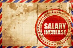 salary increase, red grunge stamp on an airmail background - stock illustration