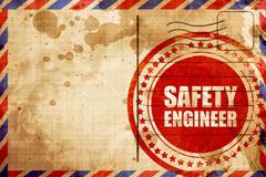 safety engineer, red grunge stamp on an airmail background - stock illustration