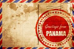 Greetings from panama, red grunge stamp on an airmail background - stock illustration