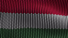 Colored soccer balls forming fabric Hungary flag. Black screen. Stock Footage