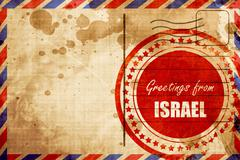 Greetings from israel, red grunge stamp on an airmail background - stock illustration