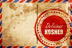 Delicious kosher food, red grunge stamp on an airmail background Stock Illustration