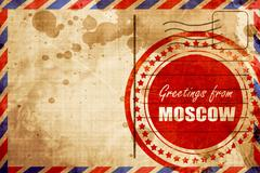 Greetings from moscow, red grunge stamp on an airmail background - stock illustration