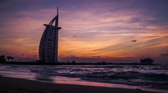 Timelapse of amazing view at the Burj Al Arab and the Jumeirah beach in Dubai Stock Footage