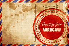 Greetings from warsaw, red grunge stamp on an airmail background - stock illustration