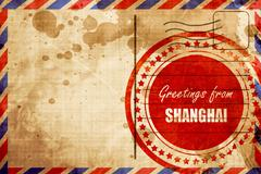 Greetings from shanghai, red grunge stamp on an airmail backgrou - stock illustration