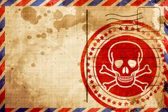 Poison sign background, red grunge stamp on an airmail backgroun Stock Illustration