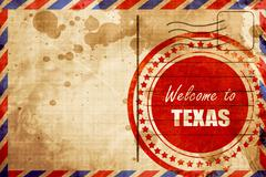 Welcome to texas, red grunge stamp on an airmail background - stock illustration