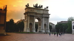 Arco della Pace, the triumphal arch in Milan,ULTRA HD 4K, real time,zoom Stock Footage